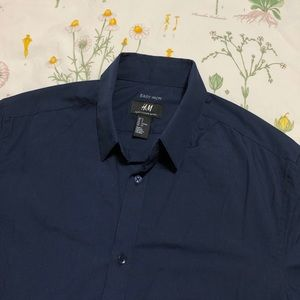 H&M Blue Slim Fit Easy Iron Collared Dress Shirt